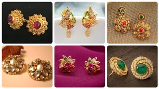 Most Gorgeous And Demanding Luxury Gold Kundan And Emerald Stud Earrings
