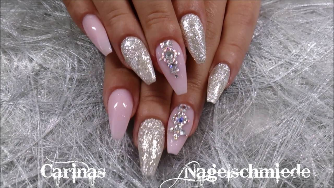 Pink silver diamonds naildesign by carinas nagelschmiede - Bilder fa r nageldesign ...