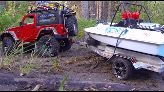 Rc Cwr Scx-10 And Custom Jet Boat Trailer In K Country