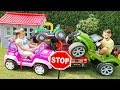 Ali and little sister Ride on Toy Cars and Play in the garden, Funny videos for Kids