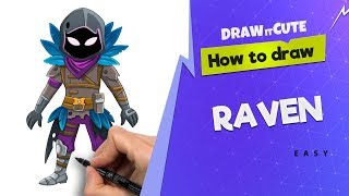 How to draw Raven easy | Fortnite character skin drawing tutorial