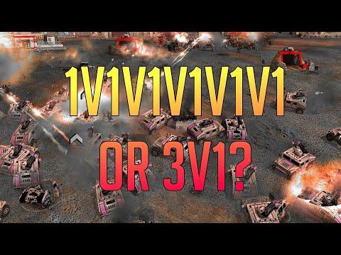 An Epic 3vs1 - 1v1v1v1v1v1 Defcon 6 - C\u0026C Generals Zero Hour