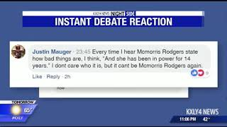 Facebook reactions from McMorris Rodgers, Brown debate