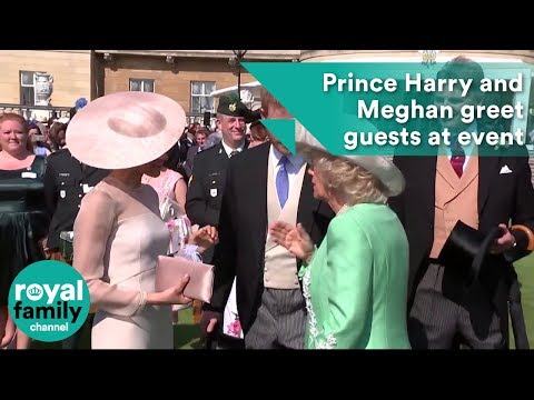 Prince Harry and Meghan greet guests at Prince Charles 70th birthday