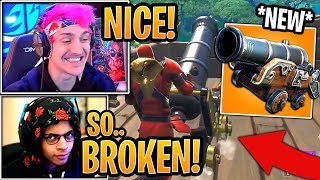 streamers-first-time-using-new-pirate-cannon-weapon-fortnite-funny-moments