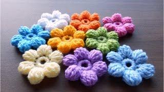 How to Crochet Puff Stitch Flower (treble crochet 5)