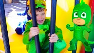 PJ Masks Play At HUGE Playground PARK Catboy And Gekko BFF