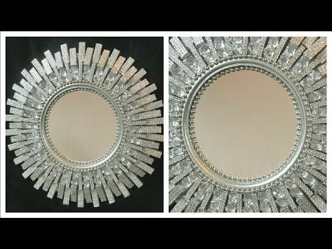 DOLLAR TREE DIY HOME DECOR DIY BLINGY GLAM MIRROR