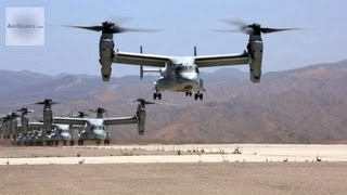 Group of MV-22 Osprey and CH-53E Super Stallion Takeoff