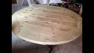 Teak Stained Patio Table Slideshow