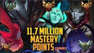 11,700,000 MASTERY POINTS COMBINED- Spectate Highest Mastery NA JHIN, SORAKA, TALON, ELISE & JINX
