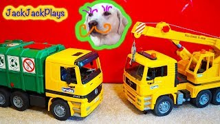 3 дитячі іграшки вантажівки сюрприз іграшки розпакування - сміттєвоз + кран - татова іграшка огляд 3