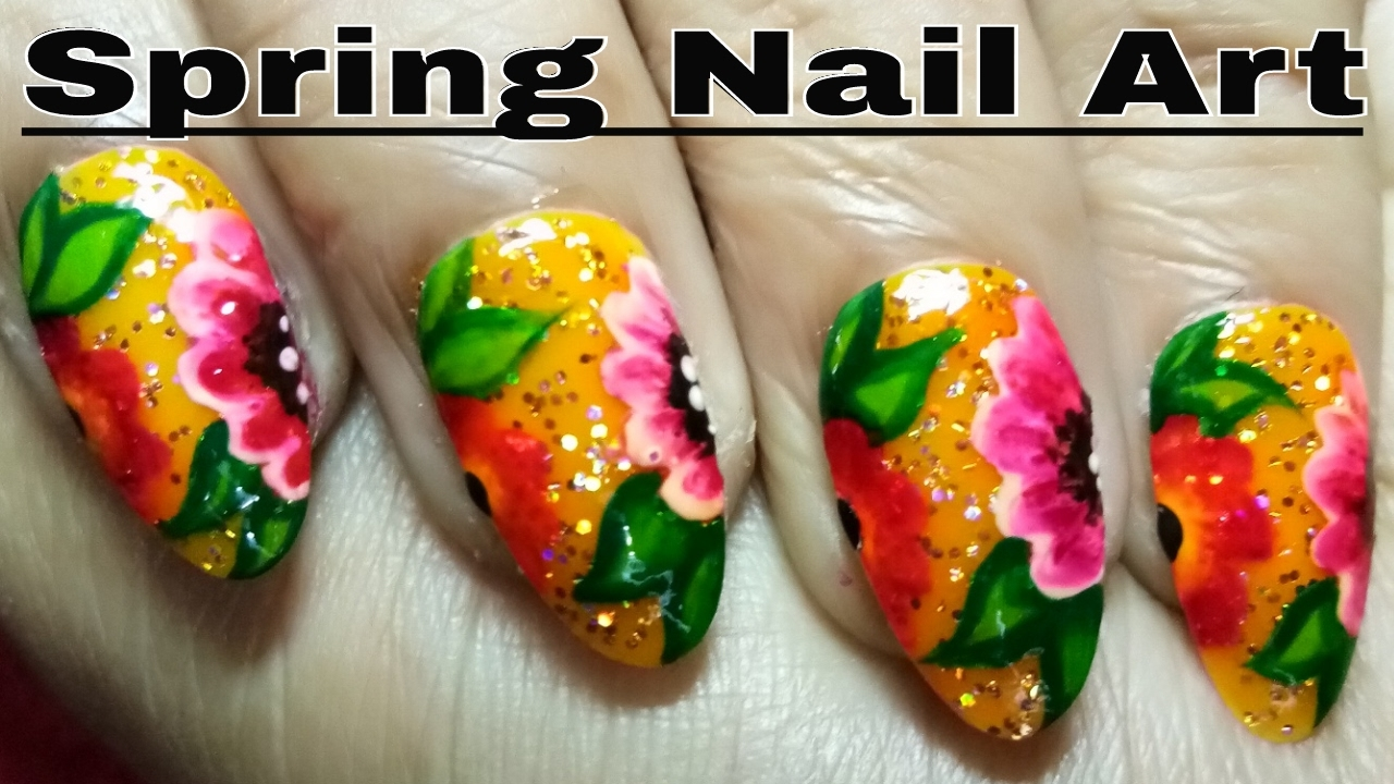 Best Nails Design Art Spring Flower Nail Image Using Colourful