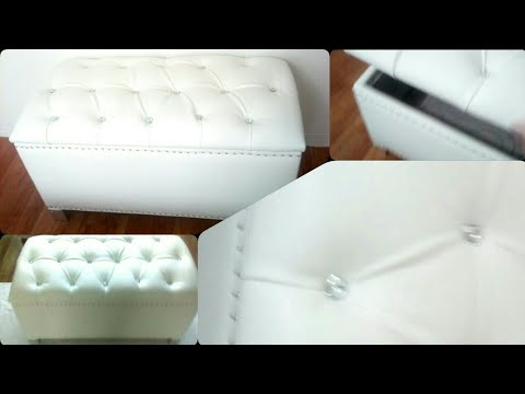 Diy Crystal Tufted Ottoman With Storage Kmart Hack
