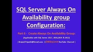 AG Yapılandırma SQL Server her Zaman açık - Part6 - her Zaman Kullanılabilirlik Grubu Oluştur