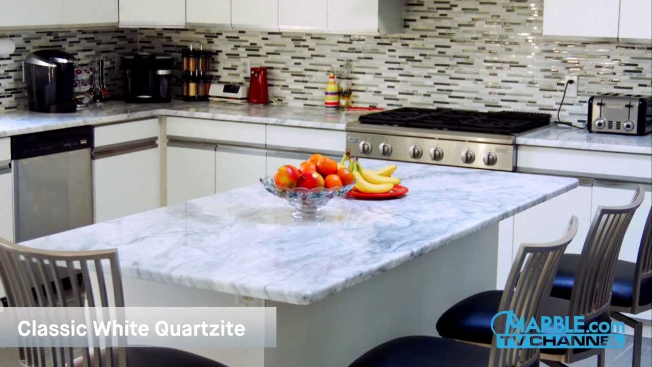 Classic White Quartzite Kitchen Countertops IV | Marble.com - YouTube