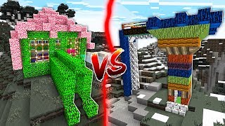 LEAF HOUSE VS WOOD HOUSE IN MINECRAFT!