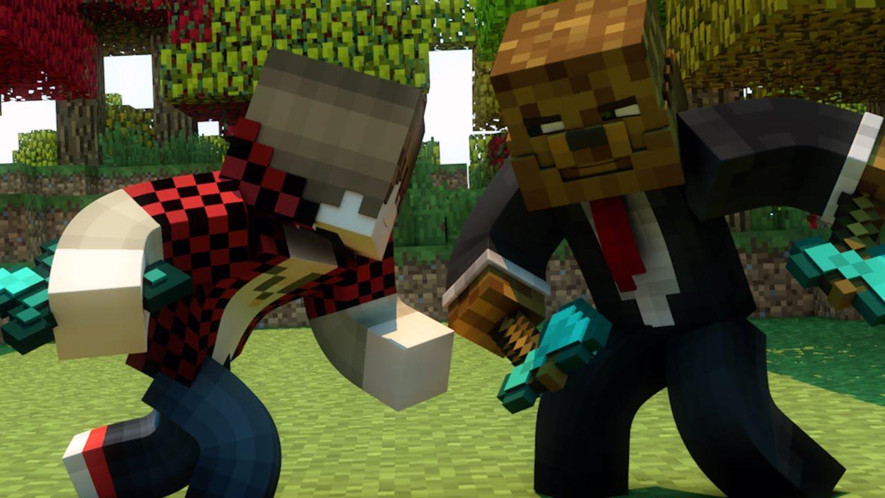 Bajancanadian Vs Jeromeasf Minecraft Fight Animation Youtube