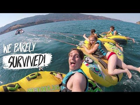 Mediterranean Cruise Day 2 – EPIC TUBING, Parasailing & Delicious Seafood! (Greece Sailing Tour)