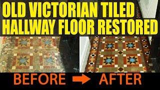 Old Victorian Tiled Hallway Floor Restored in Splott near Cardiff