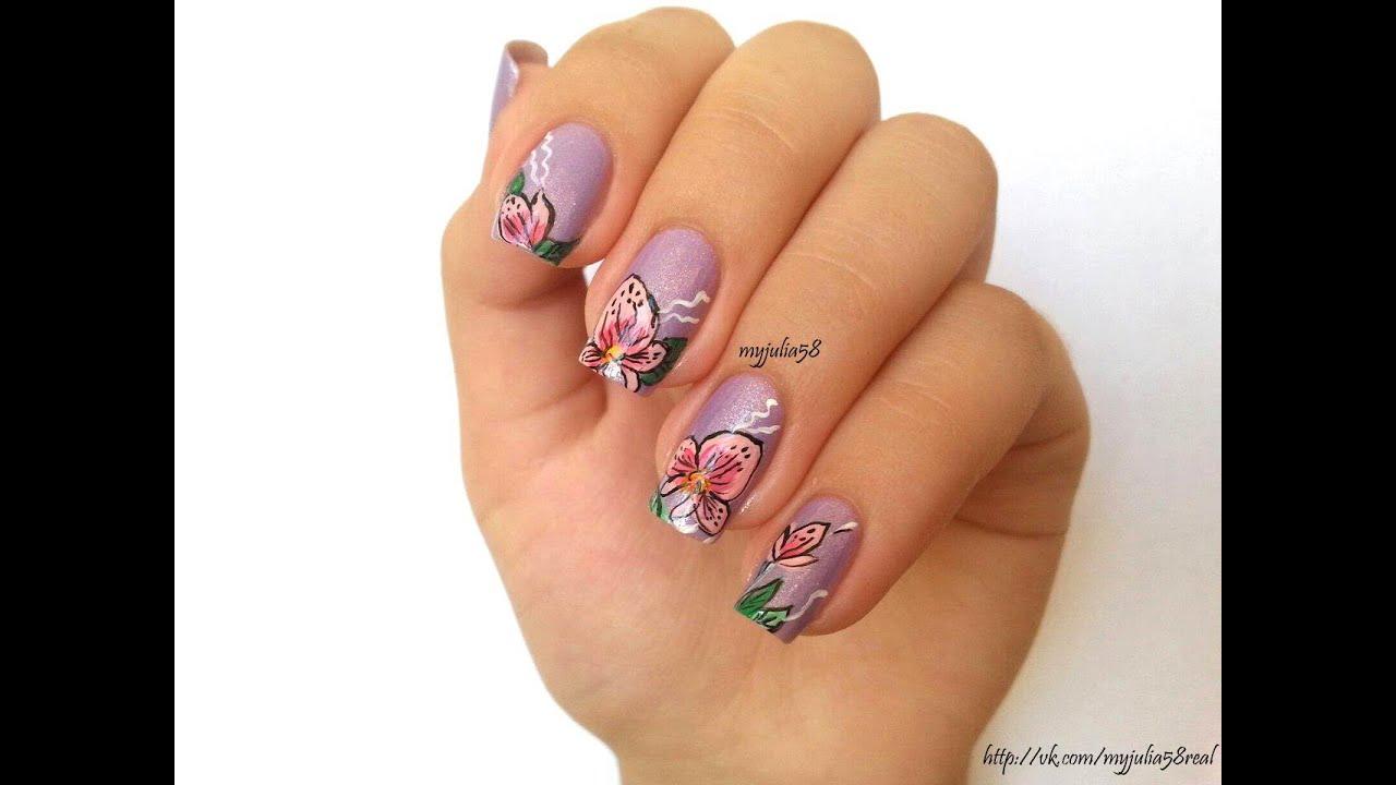 Дизайн орхидеи ногтей