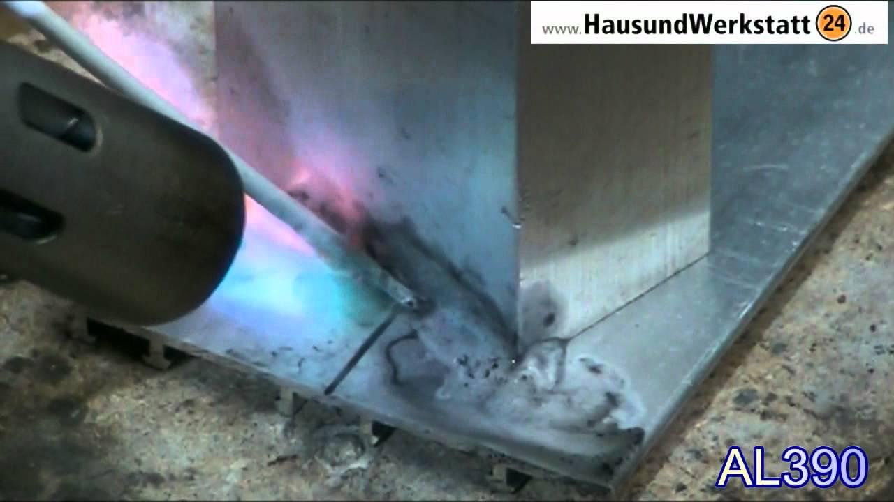Aluminiumloten Mit Al390 Kapillarlot Flussmittelumhullt Youtube