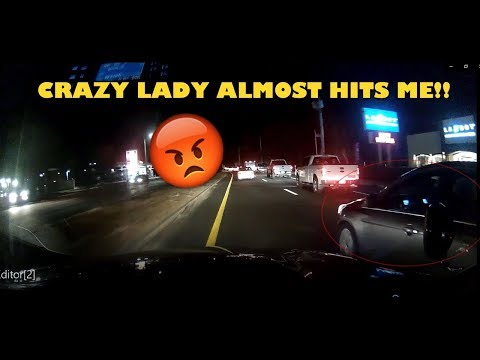 CRAZY LADY ALMOST CRASHES INTO ME!