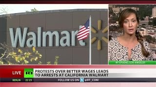 Police shut down Walmart workers' protest