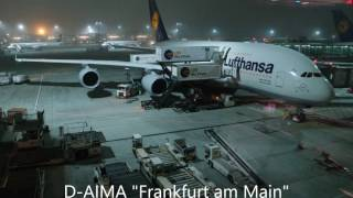 Lufthansa Airbus A380-800 flight Frankfurt to Singapore Changi (takeoff, landing)