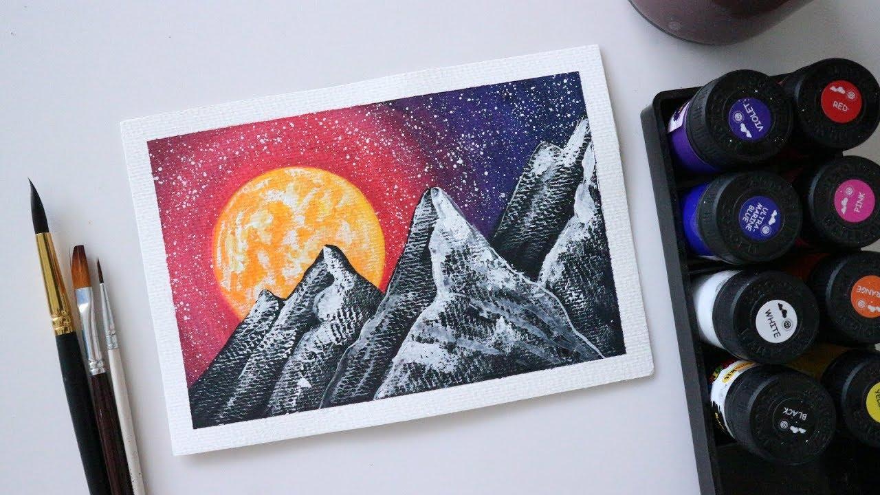 ART#20 Màu nước Thiên Long – Vẽ tranh galaxy   Watercolor Tutorial  Landscape