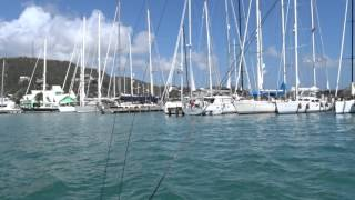 Leaving catamaran dock in falmouth Antigua