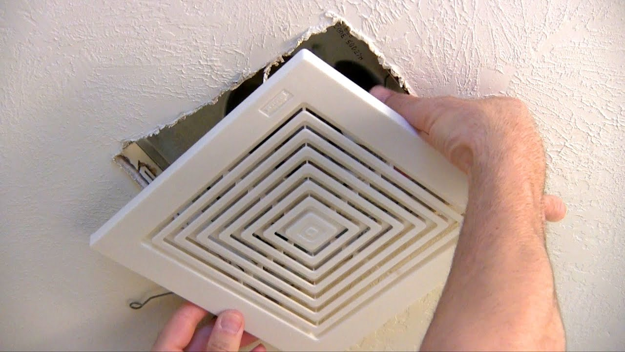 replace bathroom fan.  How to replace or repair a bathroom fan YouTube