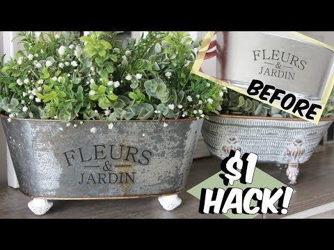HOW TO RUST DOLLAR TREE GALVANIZED PLANTERS $1 HACK FARMHOUSE DECOR