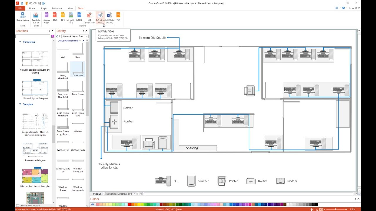network layout floor plans solution conceptdraw com network cabling layout diagram [ 1280 x 720 Pixel ]