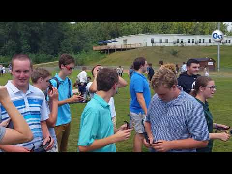 (Video 1 of 2) Hundreds of Oakbrook Preparatory School students filed onto Hart Field to view Monday