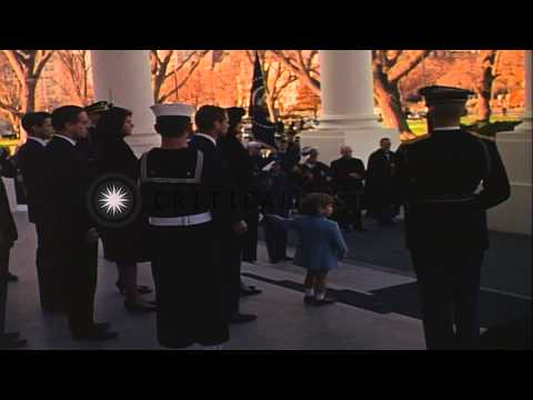 Funeral procession of John Kennedy leaving White House to reach Capitol. HD Stock Footage