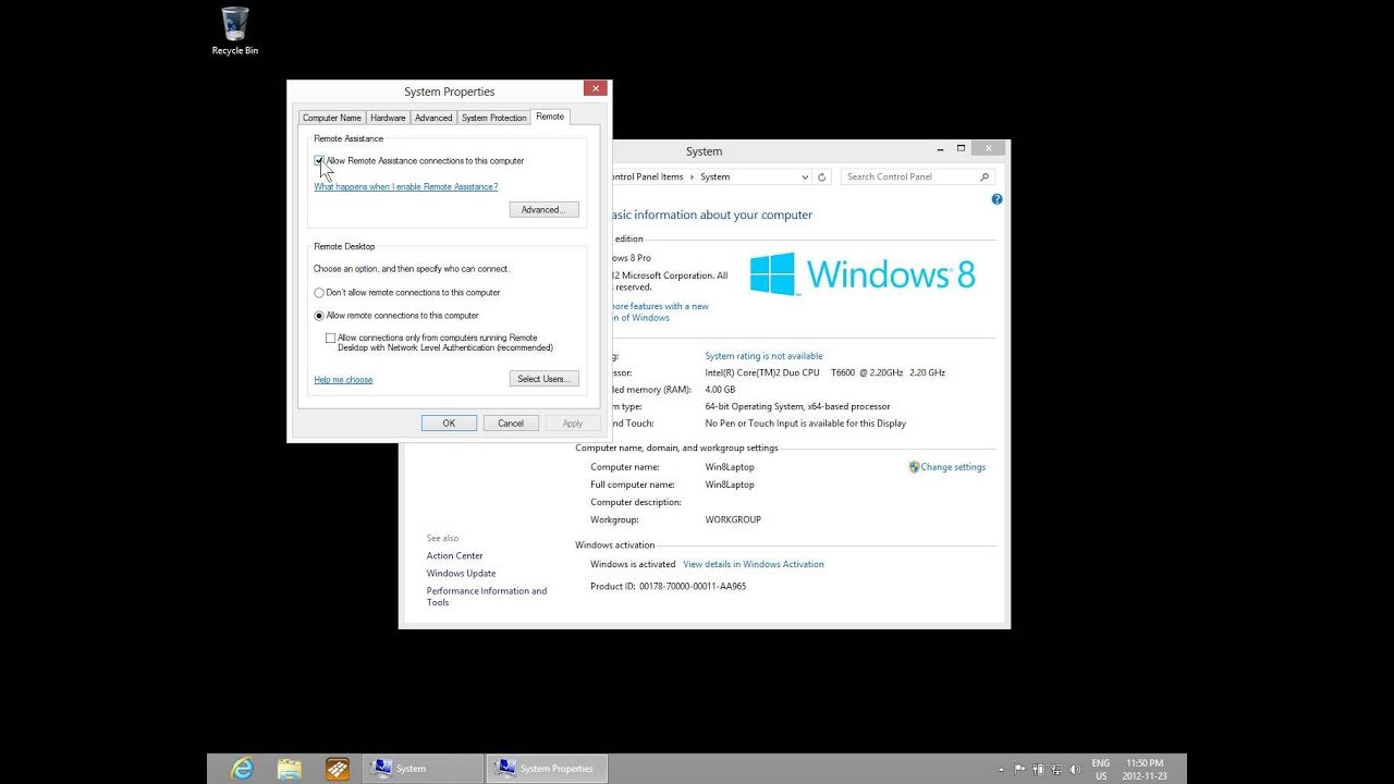 Windows 8 - Remote Desktop and Remote Assistance Settings - Remote Access  Setup