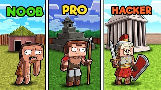 Minecraft - ANCIENT WARFARE BASE CHALLENGE! (NOOB VS PRO VS HACKER)