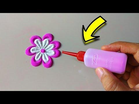 NavratriDiwali Flower Rangoli Designs using simple tools at home सस्ते में मस्त रंगोली टूल बनाइये
