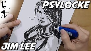 Jim Lee drawing Psylocke during Twitch Stream