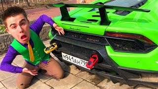 Mr. Joe on Lamborghini Huracan found Toy Cars VS Red Man plugged Exhaust Pipes Car for Kids