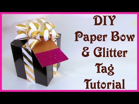 DIY Paper Gift Bow and Glitter Tag