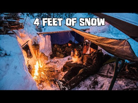 Overnight Winter Camping in Deep Snow