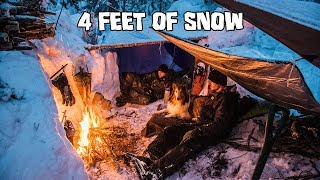 Overnight Winter Camping iฑ Deep Snow