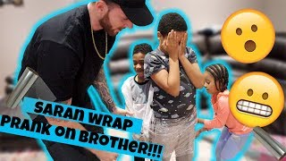 Saran Wrap Prank on Brother!