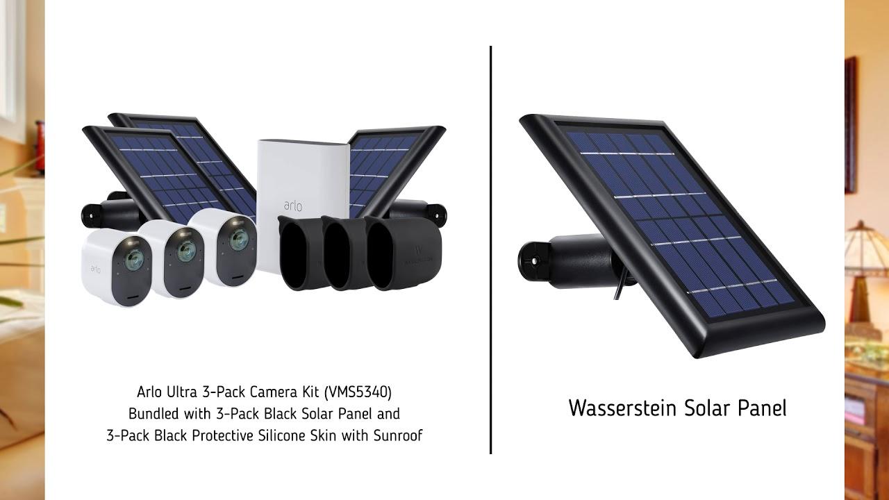 3er Kamera Set mit Solar Panel Bundle VMS5340 und VMA5600 Arlo Ultra 4K Smart Home /Überwachungskamera mit Solar Panel