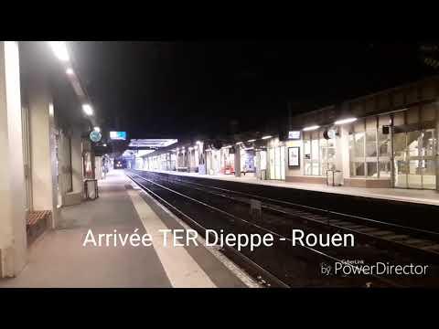 2 Trains le soir en Gare de Rouen Rive Droite