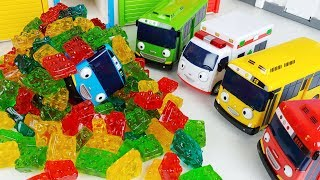 Baby doll jelly and Tayo Bus car block story music play - ToyMong TV 토이몽