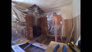 Баня: отделка вагонкой и запуск(Строительство, отделка бани вагонкой из осины и липы Печь -