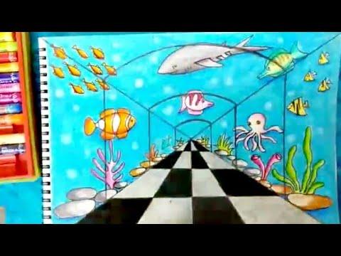 How To Draw Underwater Scene / How To Draw Fish Aquarium